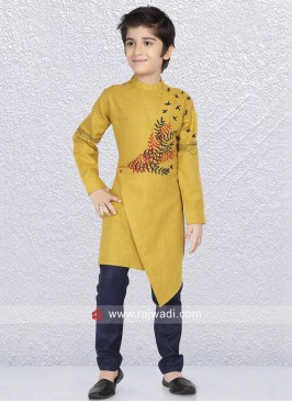 Golden Yellow Kurta Set For Party