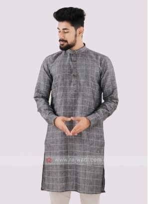 Linen Checks Grey Kurta