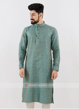Linen Checks Light Green Kurta