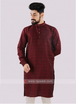 Linen Checks Maroon Kurta