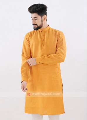 Linen Checks Mustard Yellow Kurta
