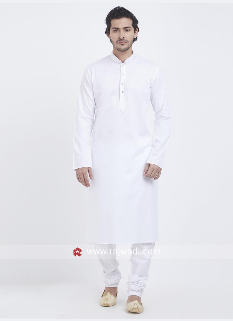 Linen Cotton Fabric White Kurta Set