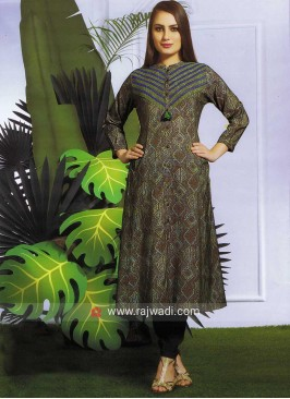 Linen Cotton Printed Kurti with Buttons