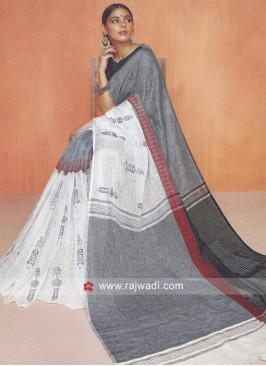 Linen Cotton Saree with Blouse