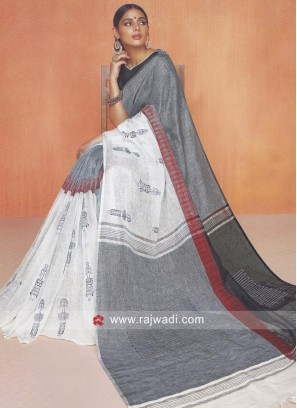Linen Cotton Saree with Blouse