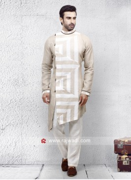 Linen Cream Color Pathani Set