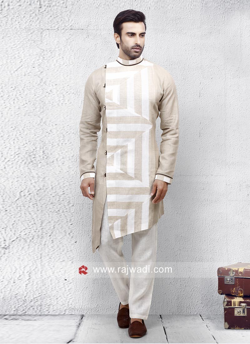 Linen Cream Color Pathani Set