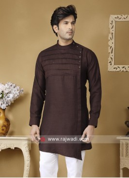 Linen Dark Coffee Kurta For Mens