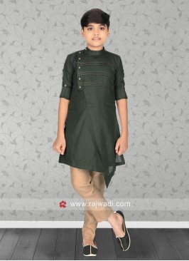 Green Color Kurta Pajama For Boys
