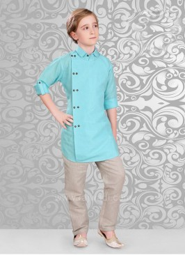 Linen Fabric Aqua Color Kurta Pajama Set