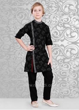 Linen Fabric Black Kurta Pajama