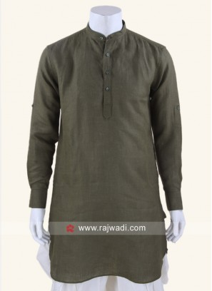Linen fabric Dark Olive Green Kurta