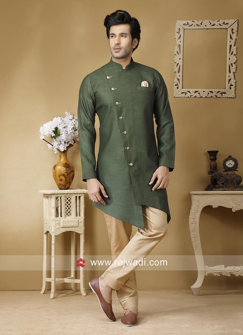 Linen Fabric Green Pathani Suit