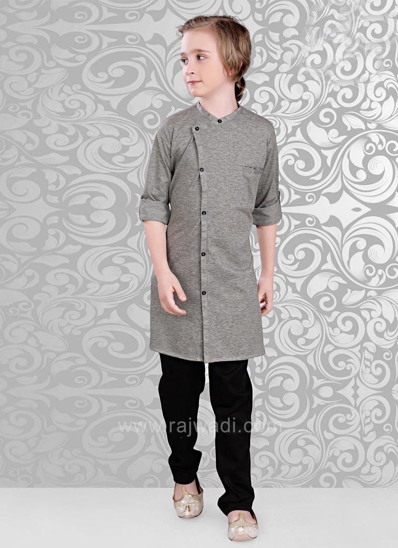 Linen Fabric Grey Color Kurta Pajama