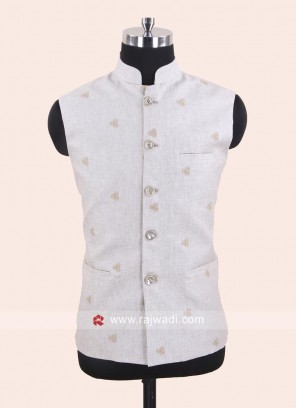 Linen Fabric Koti In Beige Color