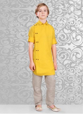 Linen Fabric Kurta Pajama In Golden Yellow color