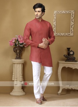 Linen Fabric Kurta Set In Light Coral