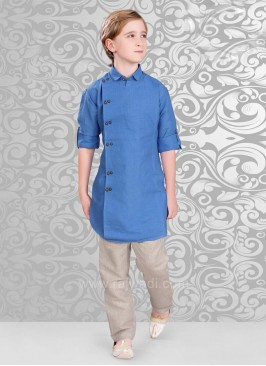 Linen Fabric Kurta Pajama in Royal Blue Color