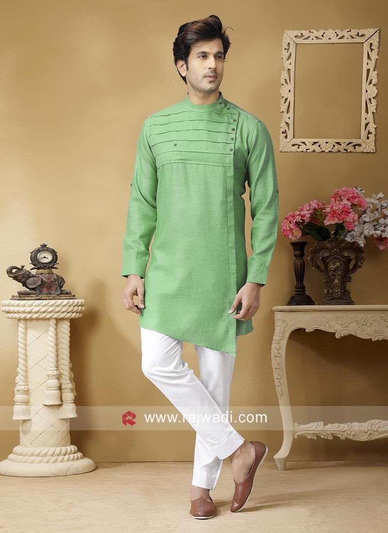Linen Fabric Light Green Pathani Set