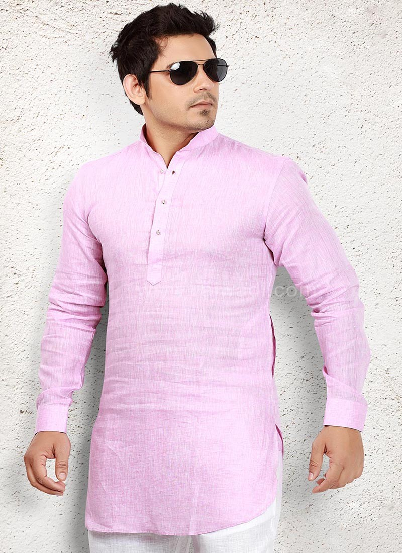 Linen fabric Light Pink Kurta