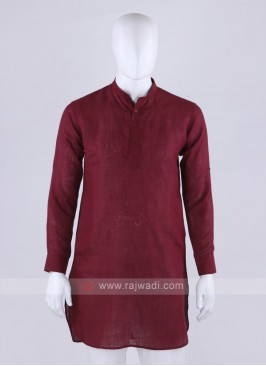 linen fabric maroon color kurta