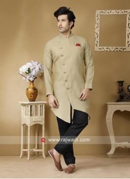 Linen Fabric Mens Pathani Set