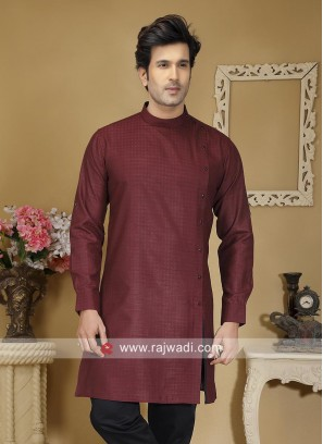 Cotton Fabric Maroon Kurta