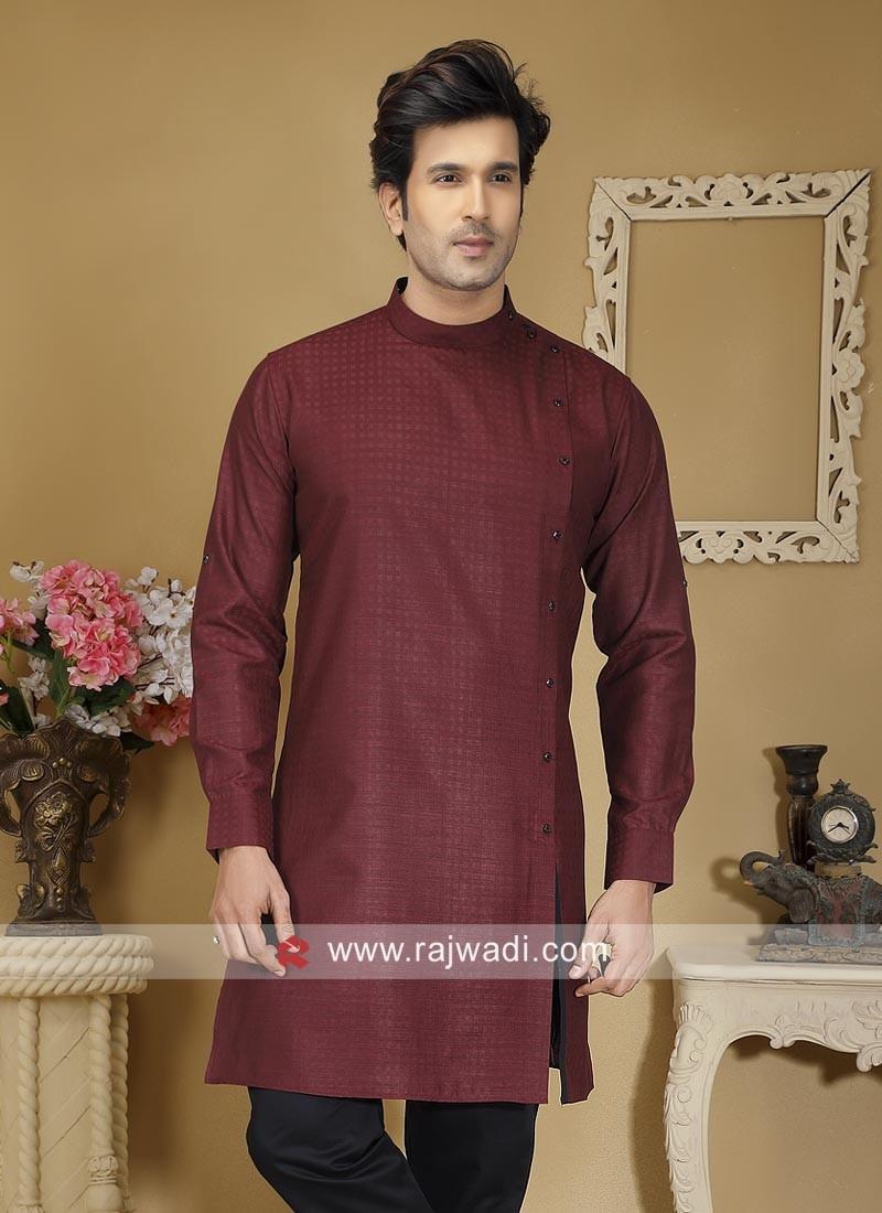 Cotton Fabric Maroon Kurta