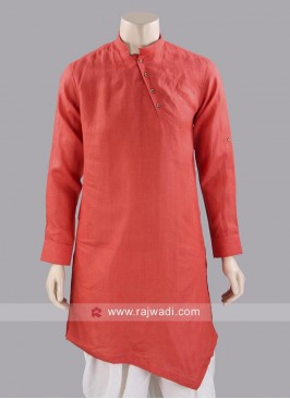 Linen Fabric Orange Kurta