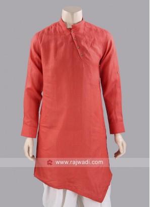 Linen Fabric Orange Kurta