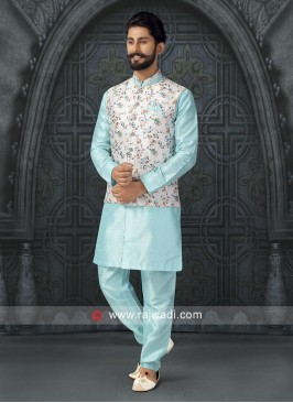 Silk Fabric Aqua Color Nehru Jacket