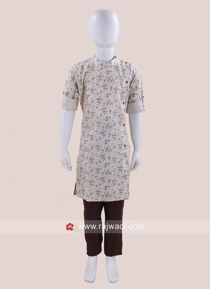Linen Fabric Pathani For Kids