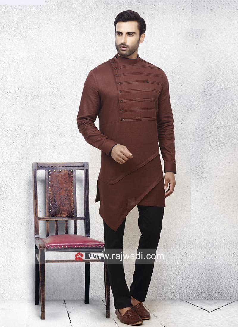 Linen Fabric Pathani Suit