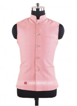 Linen Fabric Peach Color Nehru Jacket