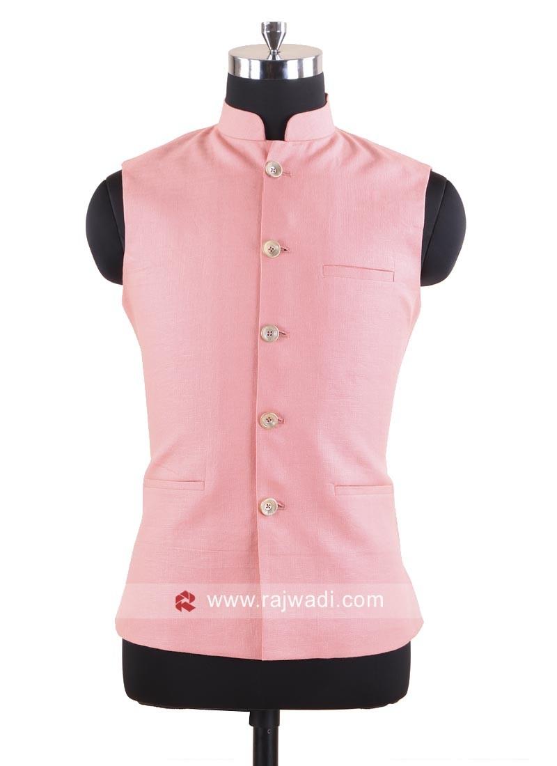 Linen Fabric Peach Color Koti