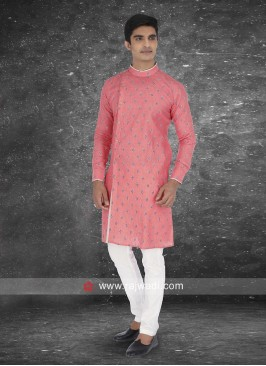 Linen fabric Peach color Kurta Pajama