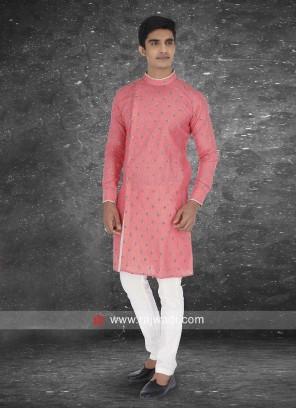 Linen fabric Peach color Kurta Pajama