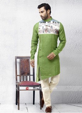 Linen Fabric Pista Green Pathani Set