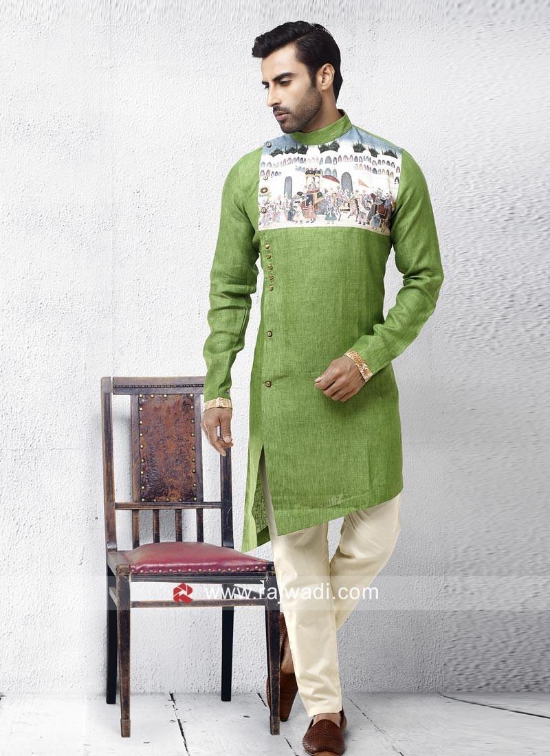 Linen Fabric Pista Green Pathani Set