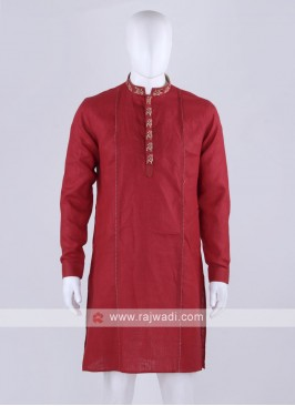 linen fabric red color kurta