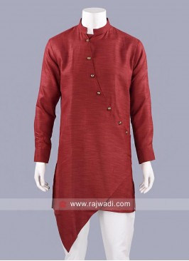 Linen Fabric Maroon Layered Kurta