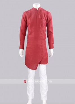 Linen Fabric Red Pathani Set