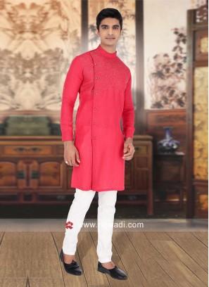 Linen Fabric Rust Color Kurta Pajama