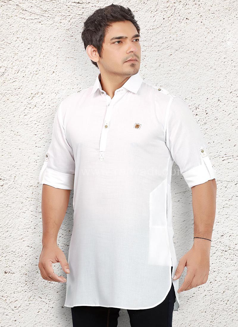 Linen fabric White Kurta