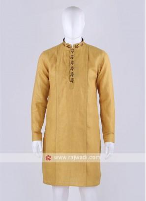 linen fabric yellow kurta