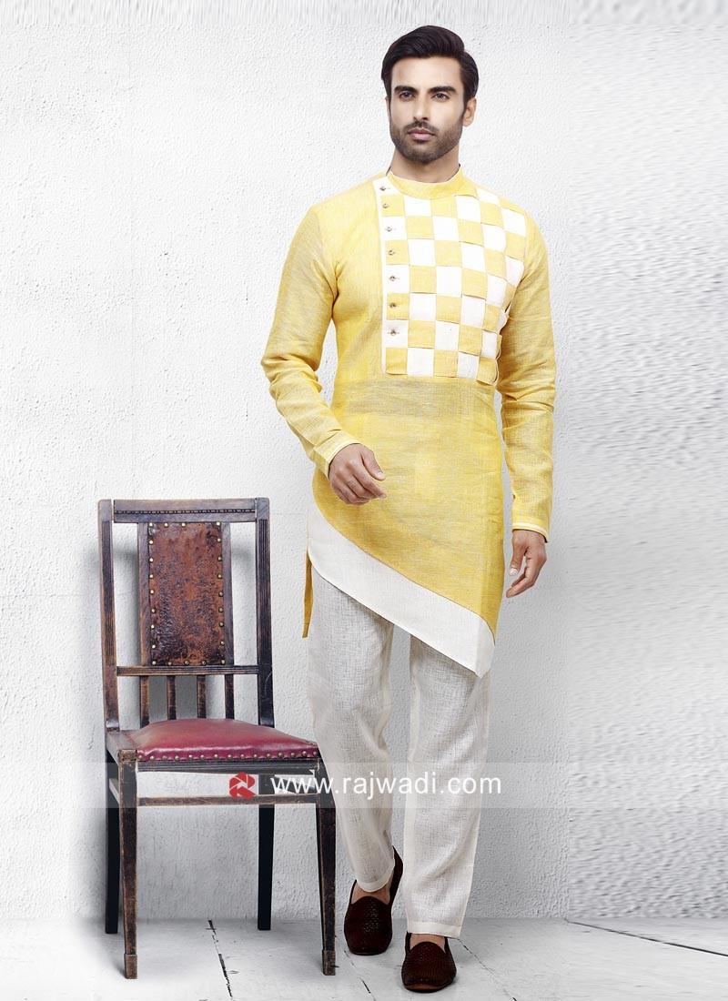 Linen Fabric Yellow Pathani Set