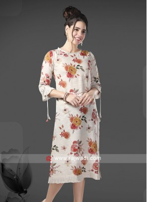 Linen Flower Print Kurti