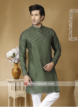 Linen Green Color Kurta For Mens