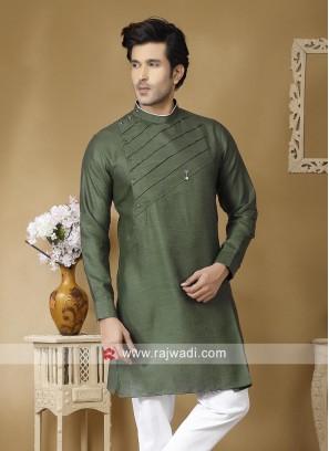 Linen Green Color Kurta For Mens