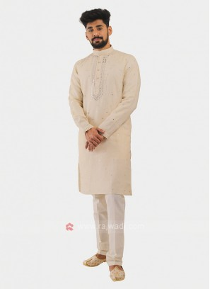 Linen Kurta Pajama In Cream